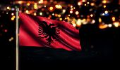 Albania National Flag City Light Night Bokeh Background 3D