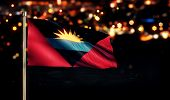 Antigua And Barbuda Flag City Light Night Bokeh 3D