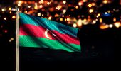 Azerbaijan National Flag City Light Night Bokeh Background 3D
