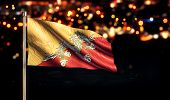 Bhutan National Flag City Light Night Bokeh Background 3D