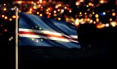 Cape Verde National Flag City Light Night Bokeh Background 3D