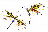 Red Black Yellow Paint Made Dragonfly Set