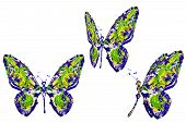 Yellow Green Blue Paint Made Butterfly Set