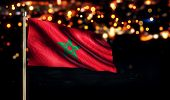 Morocco National Flag City Light Night Bokeh Background 3D