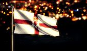 Northern Ireland National Flag City Light Night Bokeh Background 3D