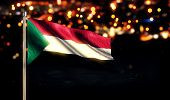 Sudan National Flag City Light Night Bokeh Background 3D