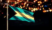 Bahamas National Flag City Light Night Bokeh Background 3D