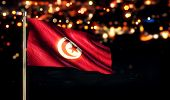 Tunisia National Flag City Light Night Bokeh Background 3D