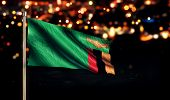 Zambia National Flag City Light Night Bokeh Background 3D