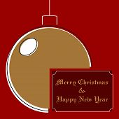 Stylized Ocher Christmas Ball On A Red Background