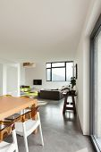 interior, lovely apartment furnished, view from dining room