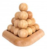 Wooden pyramid brain teaser puzzle