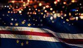 Cape Verde National Flag Light Night Bokeh Abstract Background