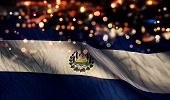El Salvador National Flag Light Night Bokeh Abstract Background
