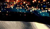 Estonia National Flag Light Night Bokeh Abstract Background