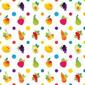 Fruit icons pattern with apple, avocado, currant, cherry, melon, pear, pumpkin, raspberry. Vector illustration.