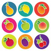 Set of fruit icons in the circles: apple, apricot, cherry, lemon, orange, peach, pear, plum, pomegranate. Vector illustration.