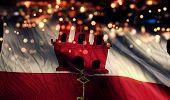 Gibraltar National Flag Light Night Bokeh Abstract Background