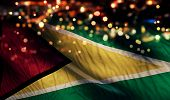 Guyana National Flag Light Night Bokeh Abstract Background