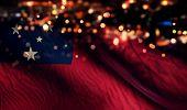 Samoa National Flag Light Night Bokeh Abstract Background