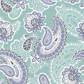 Turkish cucumber seamless pattern, blue style