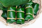 Thai Dessert Sticky Rice Steamed In Banana Leaf ( Khao Tom Mat )
