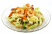 Stir-fried Vegetables With Shrimp On A Plate.