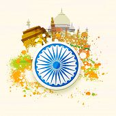 pic of indian independence day  - Happy Indian Republic Day and Independence Day celebration concept with famous monuments - JPG