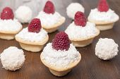 Tartlets With Protein Cream And Raspberries.