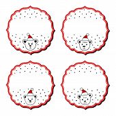 Polar bears in Santa Claus hats Christmas with vintage frame blank winter holidays sticker set