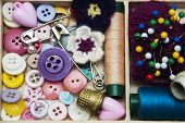 picture of handicrafts  - thread and material for handicrafts in box - JPG
