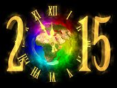 Happy new year 2015 - rainbow planet Earth - Europe Asia and Africa
