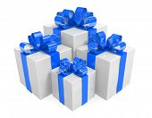 White gift box set decorated with beautiful blue ribbons and bows
