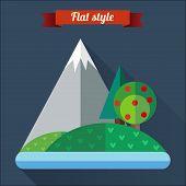 Flat Landscape Icon Design.