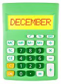 Calculator With December On Display Isolated