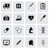 Vector black medical icons set