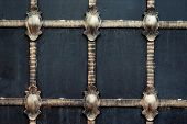 Gates With Golden Decorative Iron Cast Ornament
