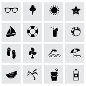 Vector black summer icons set