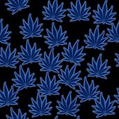 Blue Marijuana Leaf Pattern Repeat Background