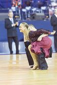 Minsk-Belarus October 42014: Unidentified Professional dance couple performs Adult Latin-American pr