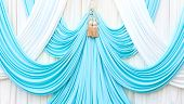 Blue And White Curtain On Stage
