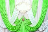 White And Green Curtain Backdrop Background
