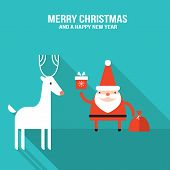 Cute Santa Claus With Gift And Presents Modern Flat Design