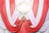 White And Red Curtain Backdrop Background