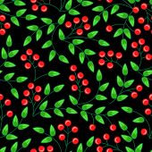 seamless pattern with leaves and berries of rowan