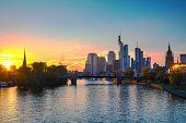 picture of frankfurt am main  - Frankfurt am Maine Germany cityscape at sunset - JPG