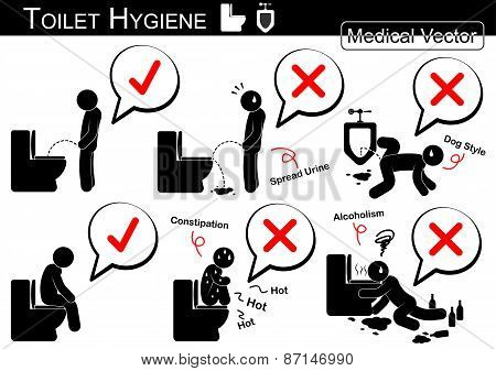Toilet Hygiene Stick Man Vector Poster Id 87146990