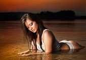 picture of provocative  - Sexy brunette woman in lingerie laying in river water - JPG