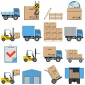 stock photo of lift truck  - Sixteen flat icons of shipping - JPG