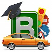 pic of driving school  - Driving school concept with board - JPG